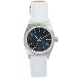 Nixon Watch Small Time Teller Leather White Navy